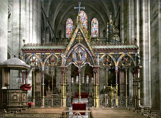 Cathedral choir screen, Hereford, England - photochrom print by the Detroit Publishing Company.