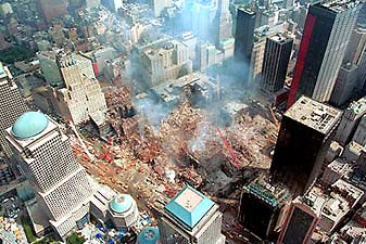 World Trade Center disaster area in New York City.