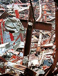 Steel Beam Cross at the World Trade Center disaster area.