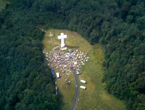 Aerial view of the White Cross at Jumonville.