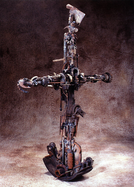 Crucifix, mixed media constructs - Sculpture by John Lewis Jensen.